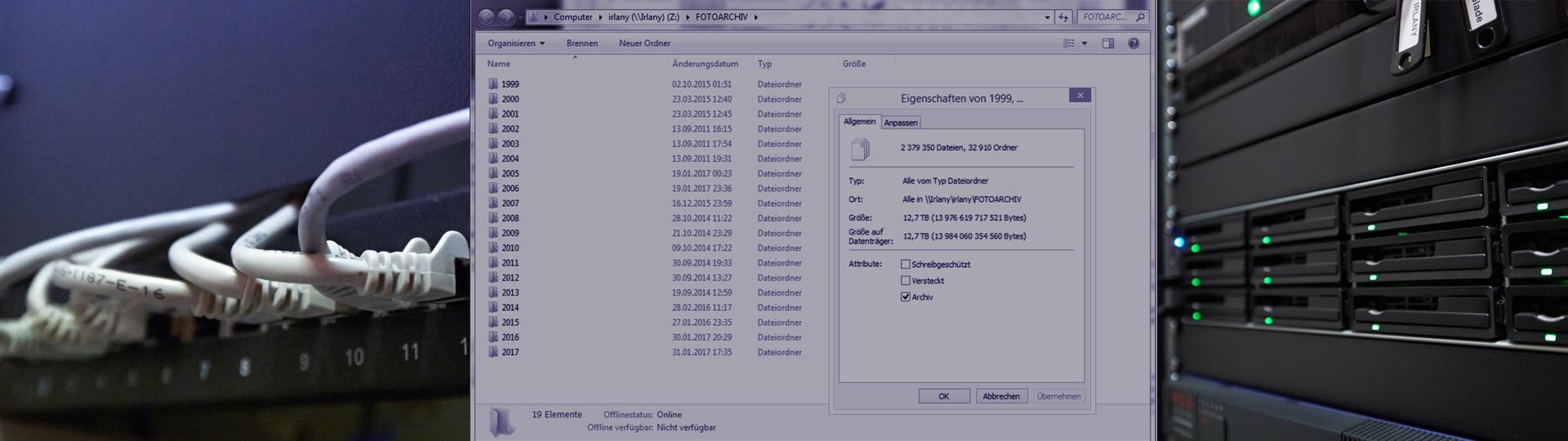 24.01 TB, also 24 000 Gigabyte in<br> 4 Mio 379 350 Dateien, 96 910 Ordner